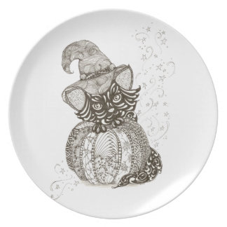 Halloween Cat Melamine Plate