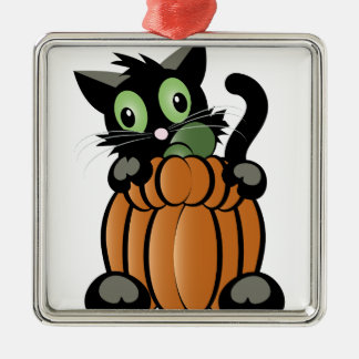 Halloween Cat Metal Ornament