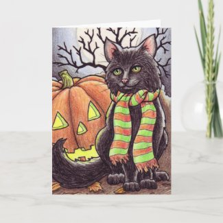 Halloween Cat notecard card