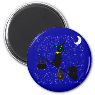 """""""Halloween Cat On A Broom""""* Magnets"""