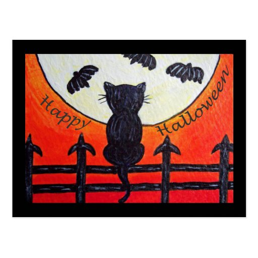 Halloween Cat On a Fence In The Moon Postcard