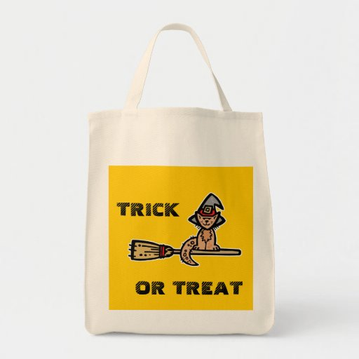 Halloween Cat on Broomstick Canvas Bag