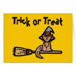 Halloween Cat on Broomstick Greeting Card