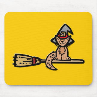 Halloween Cat on Broomstick Mouse Pad