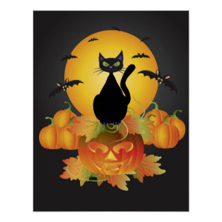 Halloween Cat on Carved Pumpkin Poster