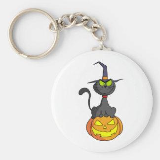 Halloween Cat on Pumpkin Keychain