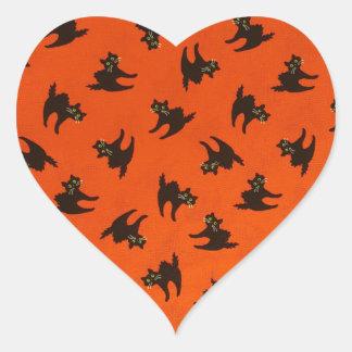 Halloween Cat Pattern Heart Sticker