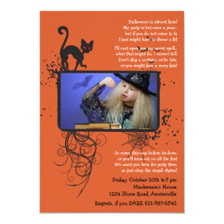 Halloween Cat Photo Invitation