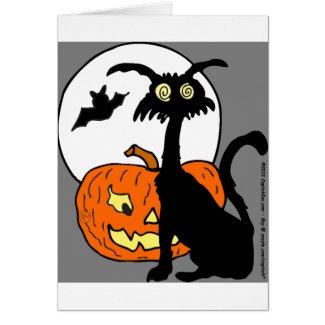 Halloween cat pumkin bat moon- What a night! Greeting Card