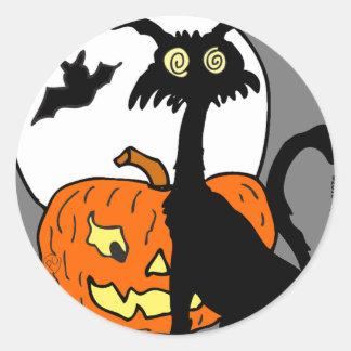 Halloween cat pumkin bat moon- What a night! Round Sticker