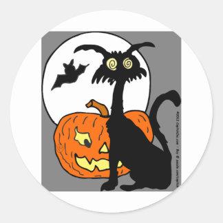 Halloween cat pumkin bat moon- What a night! Sticker