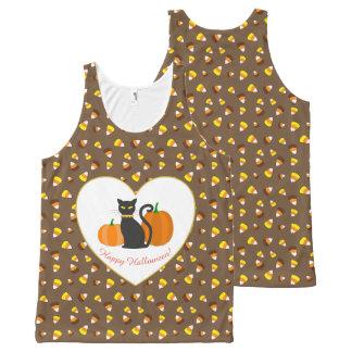 Halloween Cat, Pumpkins, Heart & Candy Corn All-Over-Print Tank Top
