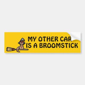 Halloween Cat Riding Broomstick Bumper Sticker