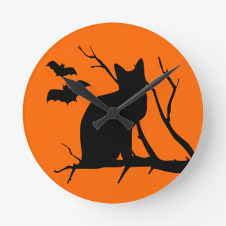 Halloween Cat Silhouette Harvest Moon Wall Clock