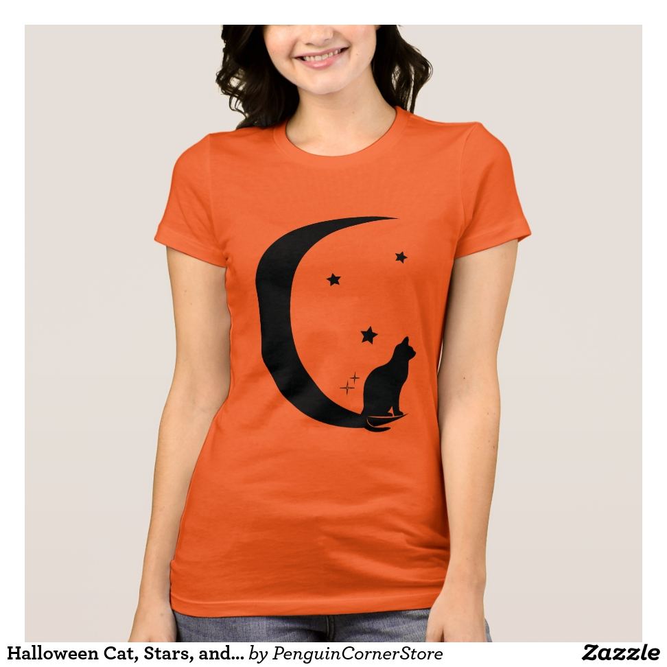 Halloween Cat, Stars, and Moon T-Shirt - Best Selling Long-Sleeve Street Fashion Shirt Designs
