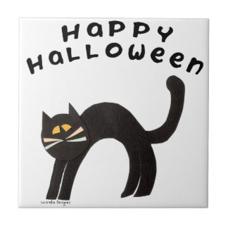 Halloween Cat Ceramic Tile