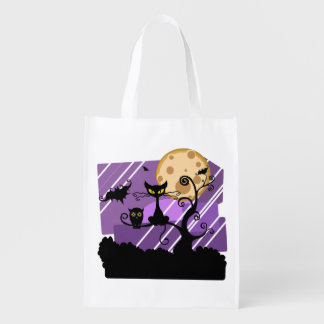 Halloween Cat Trick Or Treat Grocery Bag