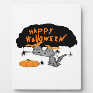 Halloween Cat With Bat Ear Clips On Plaque