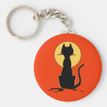 Halloween Cat with Moon ~ Basic Round Button Keychain