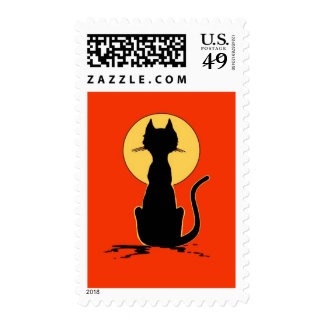 Halloween Cat with Moon ~ Postage