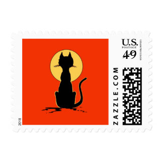 Halloween Cat with Moon ~ Postage Stamp