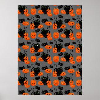 Halloween Cat with Pumpkins Pattern Print