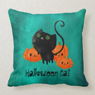 Halloween Cat with Pumpkins Throw Pillow
