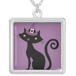Halloween Cat with Purple Witches Hat Necklace