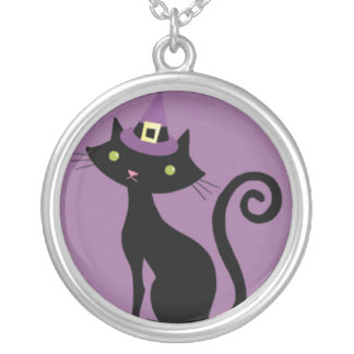 Halloween Cat with Purple Witches Hat Custom Jewelry