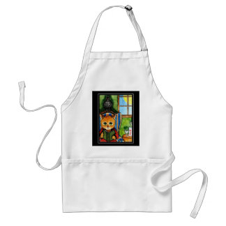 Halloween cat with raven adult apron