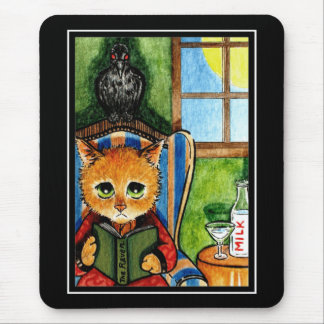 Halloween cat with raven mouse pad