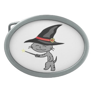 Halloween Cat With Wizard Costume Oval Belt Buckle