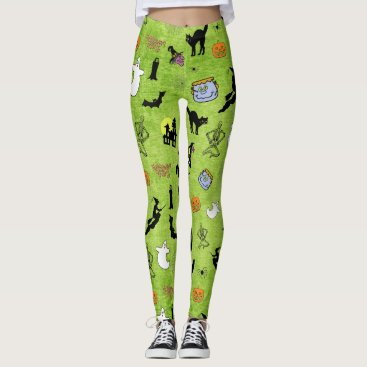 Halloween Themed Halloween Cats Bats Witches Collage on Lime Green Leggings