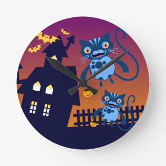Halloween cats have trick or treat fun round clock