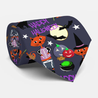 Halloween Cats In Costume Cute Patterned Neck Tie