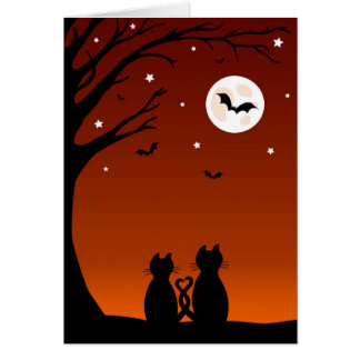 Halloween Cats Looking At The Moon Card