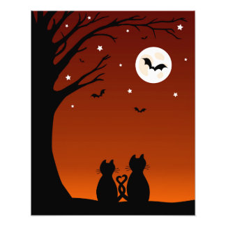 Halloween Cats Looking At The Moon Photo Print