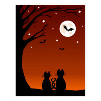 Halloween Cats Looking At The Moon Postcard