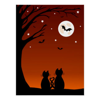 Halloween Cats Looking At The Moon Poster