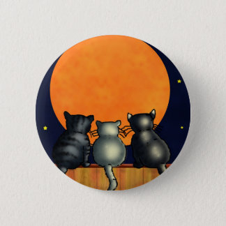 Halloween Cats Watch the Moon - Vintage Style Button