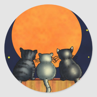 Halloween Cats Watch the Moon - Vintage Style Classic Round Sticker