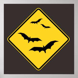 Halloween Caution Bats Sign Poster