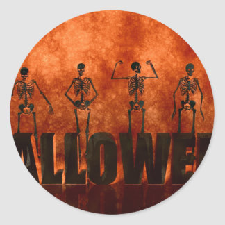 Halloween Celebration with Skeletons Dancing Classic Round Sticker
