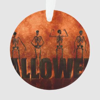Halloween Celebration with Skeletons Dancing Ornament