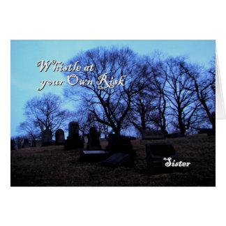 Halloween - cementerio fantasmagórico, para la tarjeta de felicitación