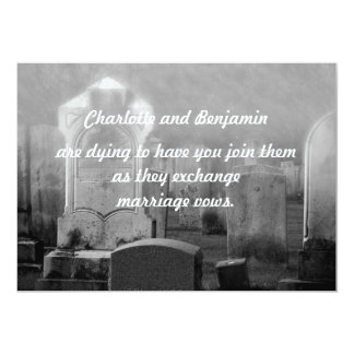 "Halloween Cemetary Wedding Invitations 5"" X 7"" Invitation Card"