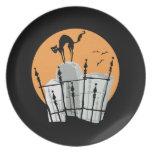 Halloween Cemetery Cat Dinner Plate