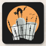 Halloween Cemetery Cat Drink Coaster