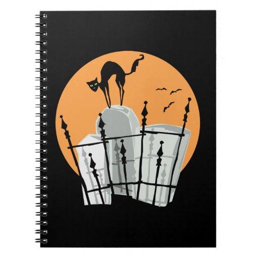Halloween Cemetery Cat Spiral Notebook