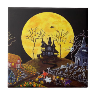 Halloween ceramic tile,haunted,house,graveyard small square tile